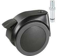 Roulette double pour charges lourdes Tarrox blocable 100 mm, jusqu''à 120 kg avec cheville ou vis filetée 12 mm-thumb-0