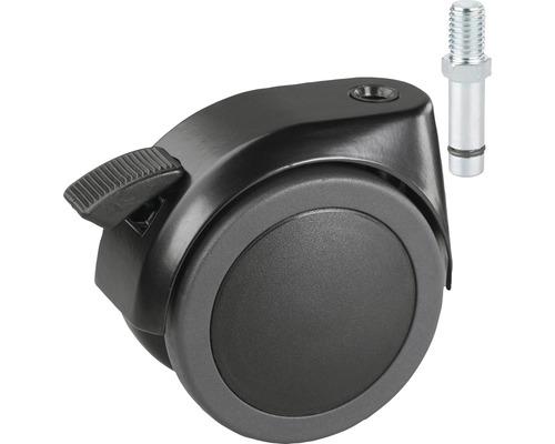 Roulette double pour charges lourdes Tarrox blocable 100 mm, jusqu''à 120 kg avec cheville ou vis filetée 10 mm-0