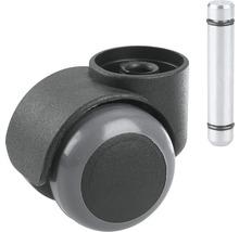 Roulette double Tarrox pour sols fragiles, plastique noir jusqu''à 40 kg, EN 12529 avec cheville-thumb-0