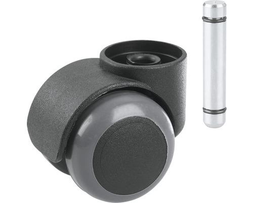 Roulette double Tarrox pour sols fragiles, plastique noir jusqu''à 40 kg, EN 12529 avec cheville-0