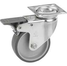 Roulette pivotante pour appareils Tarrox en acier inoxydable, blocable, jusqu'à 50 kg, 75x24 mm, taille de la plaque 60x60 mm-thumb-0