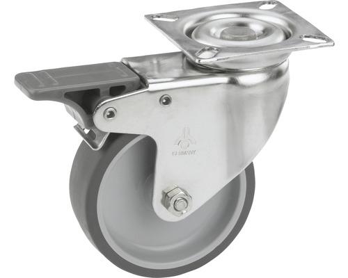 Roulette pivotante pour appareils Tarrox en acier inoxydable, blocable, jusqu'à 50 kg, 75x24 mm, taille de la plaque 60x60 mm-0