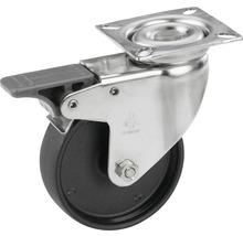 Roulette pivotante pour appareils Tarrox en acier inoxydable, blocable, jusqu'à 60 kg, 75x25 mm, taille de la plaque 60x60 mm-thumb-0