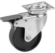 Roulette pivotante pour appareils Tarrox en acier inoxydable, blocable, jusqu'à 60 kg, 100x24 mm, taille de la plaque 60x60 mm-thumb-0