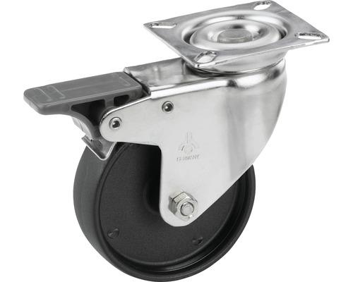 Roulette pivotante pour appareils Tarrox en acier inoxydable, blocable, jusqu'à 60 kg, 100x24 mm, taille de la plaque 60x60 mm-0