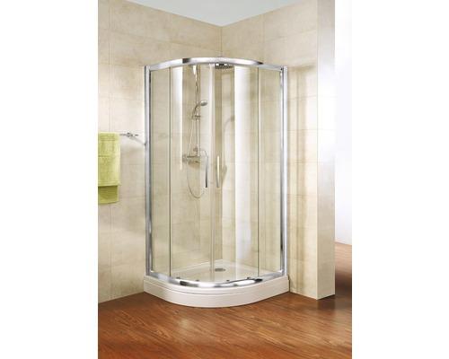 Douche quart de cercle Schulte ExpressPlus Kristall/Trend R550 80x80 cm verre transparent couleur du profilé chrome