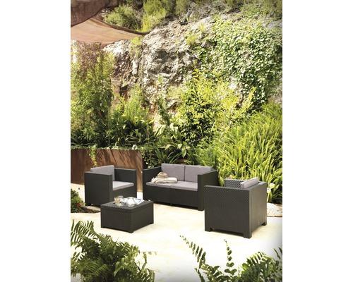 Salon de jardin Diva Comfort rotin synthétique 4 sièges 5 pièces anthracite