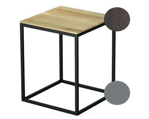 Tabouret BETTE avec revêtement en bois véritable 35x35 cm sky/bois chêne mocca Q020-816FH813