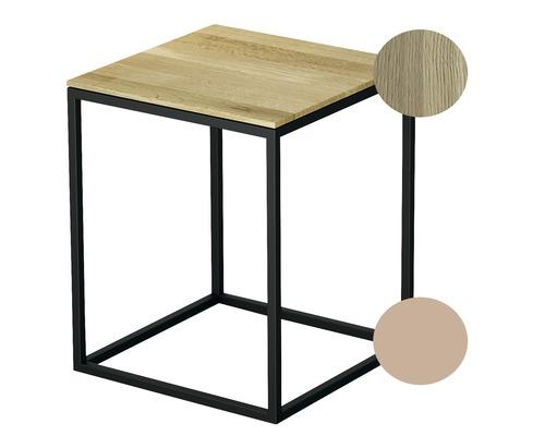 Tabouret BETTE avec revêtement en bois véritable 35x35 cm rose/bois chêne crème Q020-818FH812