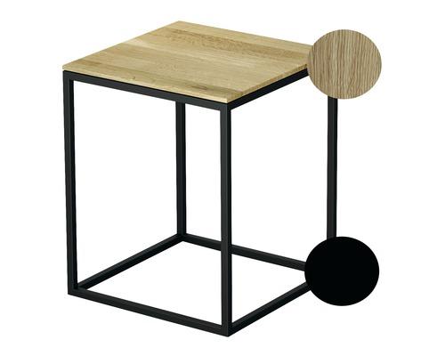 Tabouret BETTE avec revêtement en bois véritable 35x35 cm noir/bois chêne nature Q020-815FH814