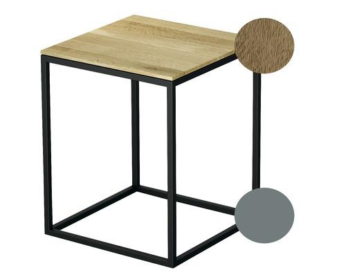 Tabouret BETTE avec revêtement en bois véritable 35x35 cm sky/bois chêne nature Q020-816FH814