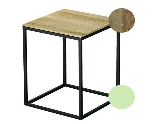 Tabouret BETTE avec revêtement en bois véritable 35x35 cm mint/bois chêne nature Q020-817FH814
