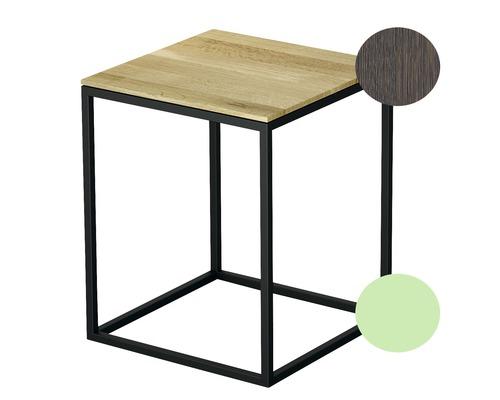 Tabouret BETTE avec revêtement en bois véritable 35x35 cm mint/bois chêne mocca Q020-817FH813