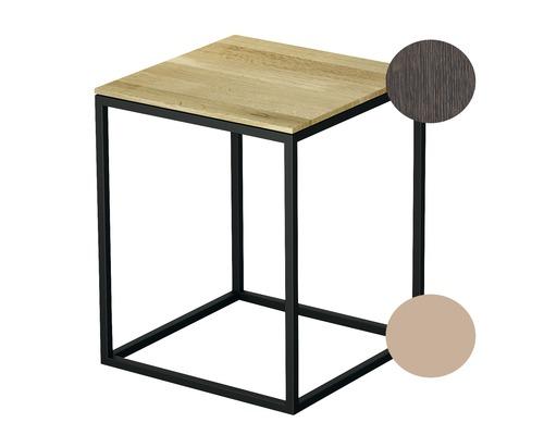 Tabouret BETTE avec revêtement en bois véritable 35x35 cm rose/bois chêne mocca Q020-818FH813