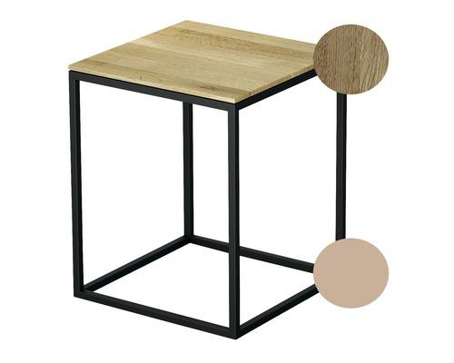 Tabouret BETTE avec revêtement en bois véritable 35x35 cm rose/bois chêne nature Q020-818FH814