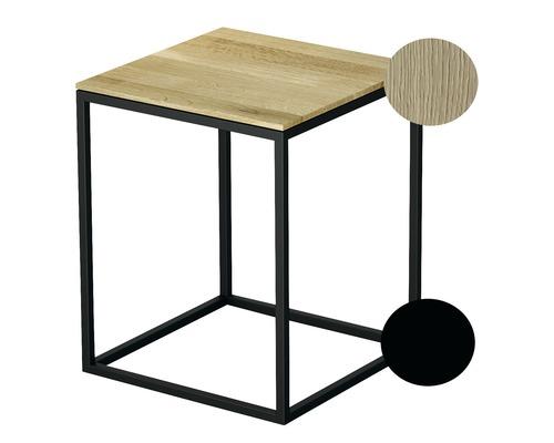 Tabouret BETTE avec revêtement en bois véritable 35x35 cm noir/bois chêne crème Q020-815FH812