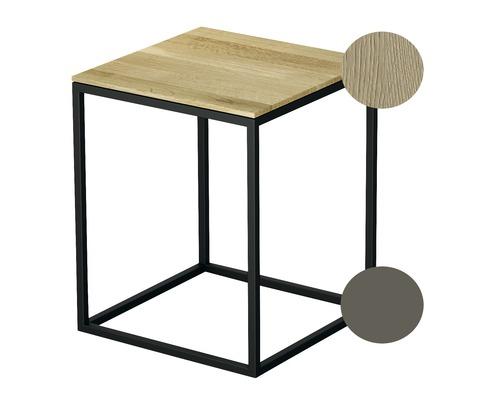 Tabouret BETTE avec revêtement en bois véritable 35x35 cm taupe/bois chêne crème Q020-809FH812