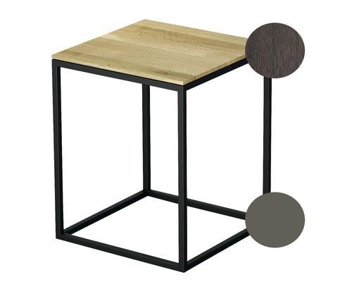 Tabouret BETTE avec revêtement en bois véritable 35x35 cm taupe/bois chêne mocca Q020-809FH813