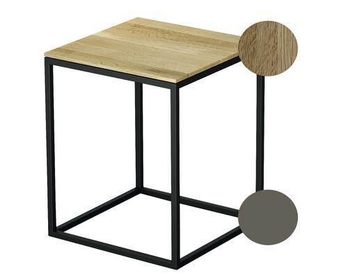 Tabouret BETTE avec revêtement en bois véritable 35x35 cm taupe/bois chêne nature Q020-809FH814