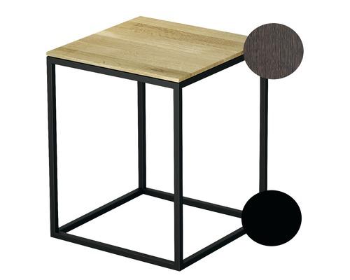 Tabouret BETTE avec revêtement en bois véritable 35x35 cm noir/bois chêne mocca Q020-815FH813