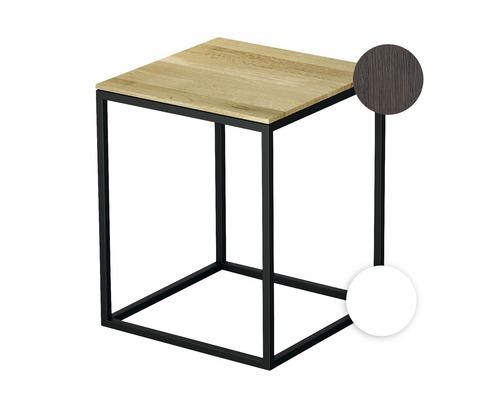 Tabouret BETTE avec revêtement en bois véritable 35x35 cm blanc/bois chêne mocca Q020-807FH813
