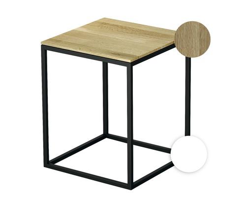 Tabouret BETTE avec revêtement en bois véritable 35x35 cm blanc/bois chêne nature Q020-807FH814