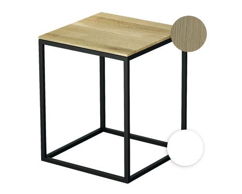 Tabouret BETTE avec revêtement en bois véritable 35x35 cm blanc/bois chêne crème Q020-807FH812
