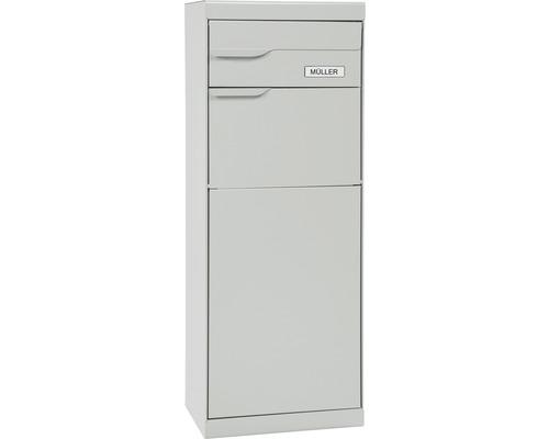 Boîte à colis MEFA en acier revêtu par poudre lxhxp 402/1094/310 mm Etna 772 aluminium blanc RAL 9006 retrait par l'arrière 2 niveaux avec porte-nom
