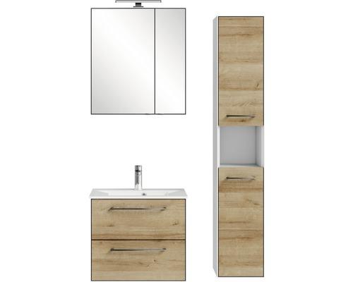Ensemble de meubles de salle de bains Pelipal Xpressline 3065 63 cm avec vasque, armoire de toilette et armoire haute chêne Riviera