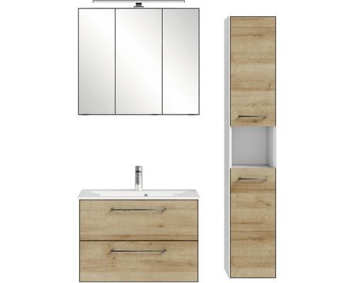 Ensemble de meubles de salle de bains Pelipal Xpressline 3065 80 cm avec vasque, armoire de toilette et armoire haute chêne Riviera