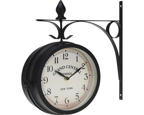 Horloge murale double face métal noir 33x33x9 cm