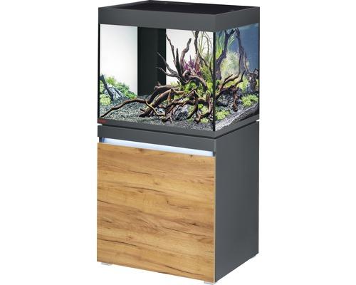 Kit complet d''aquarium EHEIM incpiria 230 avec éclairage à LED et meuble bas éclairé graphite/chêne