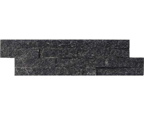 Pierre de parement quartzite noir, 10x40 cm