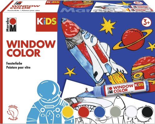 Marabu Kids Kit Window Color Univers 6 pièces