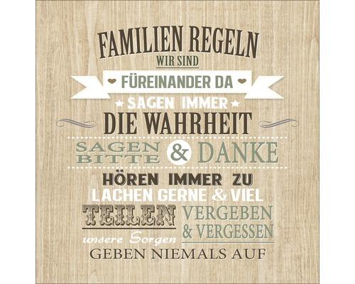 Panneau décoratif Familienregeln 30x30 cm