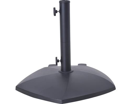 Pied de parasol en béton 55x55 cm noir convient pour parasols ayant un diamètre de pied de 35mm/38 mm/48mm avec 3x adaptateurs