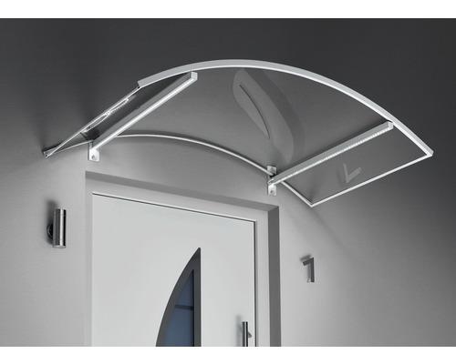 Auvent en arc Gutta avec LED 150x90cm blanc avec couverture en polycarbonate clair
