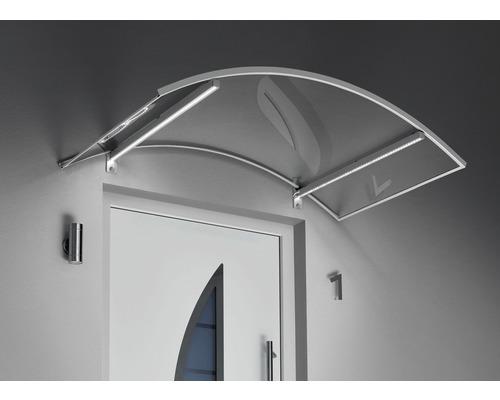 Auvent en arc Gutta avec LED 150x90cm aspect inox avec couverture en polycarbonate clair