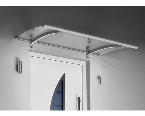 Verrière Gutta avec LED 150x90cm aspect inox avec couverture en verre acrylique clair