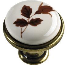Bouton de meuble en zinc moulé sous pression/porcelaine laitonné/bruni décor feuilles Øxh 27,5/25,5mm-thumb-0