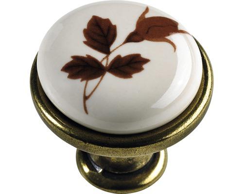 Bouton de meuble en zinc moulé sous pression/porcelaine laitonné/bruni décor feuilles Øxh 27,5/25,5mm-0