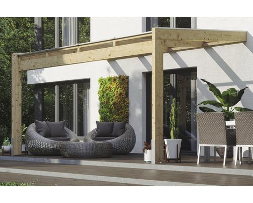 Toiture pour terrasse SKAN HOLZ Novara avec courroies de poteau 450x259cm naturel