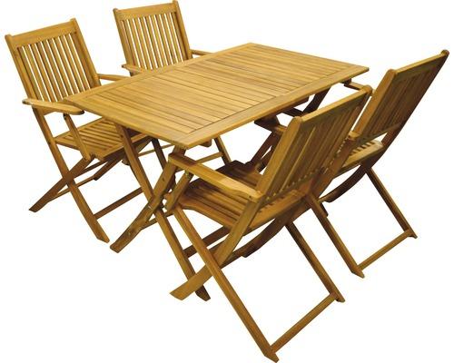 Ensemble de meubles de jardin Acamp Forma bois huilé 4 places 5 pièces pliant acacia clair