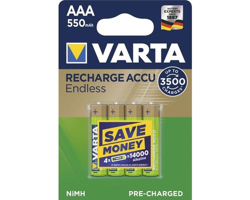 Pile Varta Endless Energy AAA-Micro 550mAh préchargées sans effet mémoire jusqu''à 3500charges 4pièces