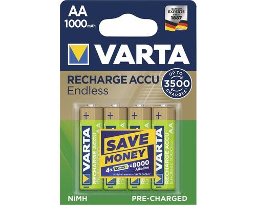 Pile Varta Endless Energy AA-Mignon 1000mAh préchargées sans effet mémoire jusqu''à 3500charges 4pièces