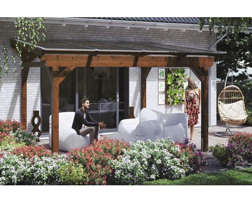 Toiture pour terrasses Skanholz Sanremo 434 x 250 cm, noyer