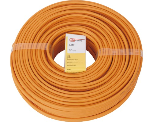 Câble de données CAT 7, Duplex 2x (4x2xAWG23/1) orange 50m