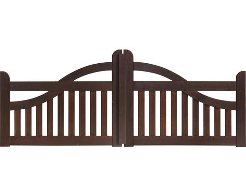 Portail à deux vantaux clôture de jardinet coude 300 x 95 cm, marron