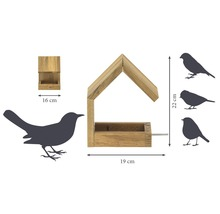 Abri-mangeoire pour oiseaux avec toit en selle 16x19x22cm chêne-thumb-4
