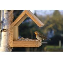 Abri-mangeoire pour oiseaux avec toit en selle 16x19x22cm chêne-thumb-5